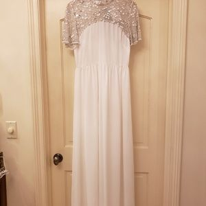 asos long bridal dress with tags attached